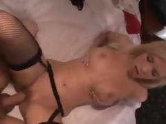 Sexy gal in nylons makes a booty call