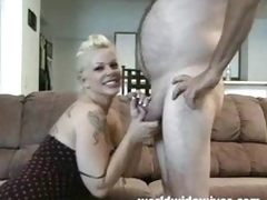 Hot MILF sucks a cock
