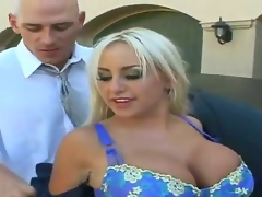 Blonde Savannah Gold with giant boobs and smooth beaver wants Johnny Sins shove his worm in her eager mouth