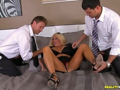 Levi and Preston notice this smokin' hot milf with a massive cleavage, and she doesnt mind coming along and playing with the boys. The lewd milf takes on one as well as the other their fat cocks!