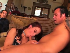 Cock addicted cuckold redhead bitch Cheyenne Jewel with natural marangos and bouncing ass in fishnet nylons gets fingered and rammed hard by tattooed stud in front of her husband.