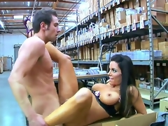 Hot and slim brunette hair babe Victoria Valentino is sitting on the boxes in warehouse with wide open legs and getting banged up by her fucker friend.