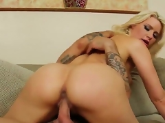 Turned on blonde wench Anikka Albrite with big round bums and natural tits rides on Alan Stafford with stiff cannon like there is no tomorrow and gets rammed to orgasm.