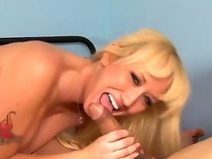 Stroke penis so well enjoying from the fascinating view of how nasty and raunchy blonde cougar Alana Evans is playing with fat dong of dude! Oh, she knows how to suck and stroke!