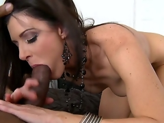 The licentious brunette milf India Summer likes everything big and she couldnt pass by this black monster cock and pleasingly took it so deeply right in the throat