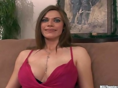 This well-endowed woman finds herself side by side with MILF Hunter on the sofa after playing golf together. She flashes her charming large tits and gievs a smile he cant resist!