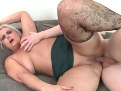 Fat ass old honey rides his youthful dick
