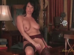 Mom in consummate stockings masturbates solo