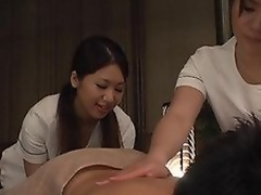 Ravishing Asian milfs are giving a double massage to their client. He enjoys the supplementary hands and the rubbing from these hot milfs. They are licking his body and giving him hand jobs before getting crazy and getting on him for a cock ride so one rides and the other is stimulating him for a load of cum on her pretty face!