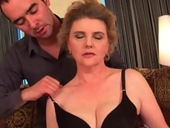 Breasty grandma in nylons gets her hairy love tunnel screwed